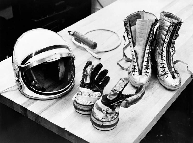 A helmet from the 1961 Mercury spacesuit. The space helmet wouldn't be the same had it not been for Alice King Chatham's contributions. NASA.