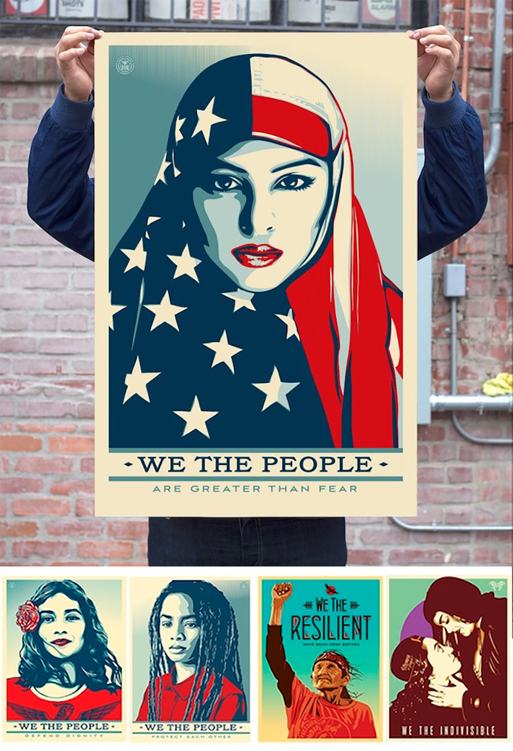The various posters made by Shepard Fairey for this week's Inauguration in Washington, DC (via Kickstarter).