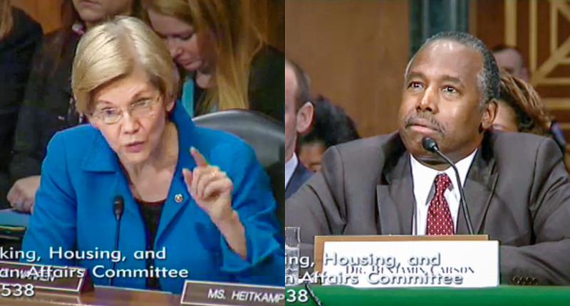 Elizabeth Warren questions Ben Carson at a Senate confirmation hearing (screen grab).