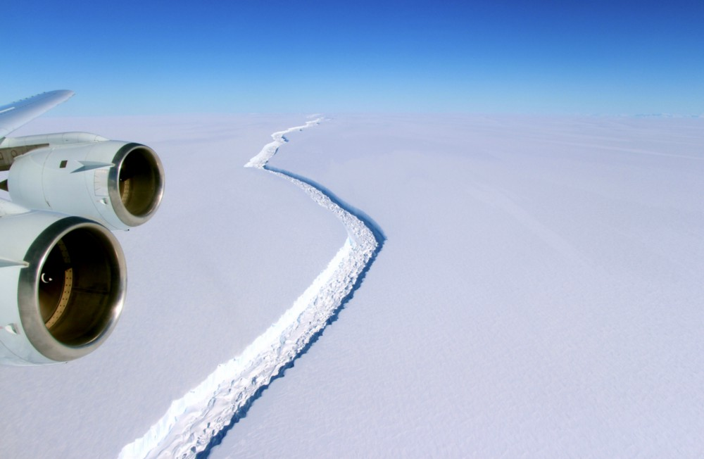 A crack in Antarctics's Larsen C ice shelf has grown sharply in recent months. CREDIT: NASA.