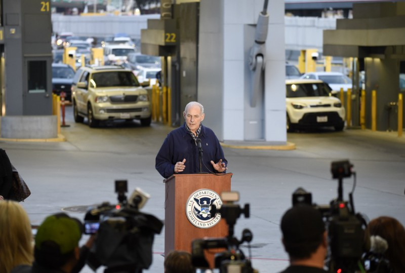Secretary of Homeland Security John Kelly speaks at news conference as cars enter the United States from Mexico at the San Ysidro Port of Entry on February 10. CREDIT: AP Photo/Denis Poroy.