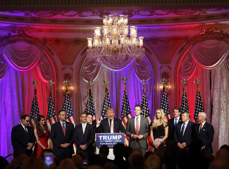 Donald Trump speaks to supporters at his Mar-a-Lago Club in Palm Beach, Florida. CREDIT: AP Photo/Gerald Herbert, File.