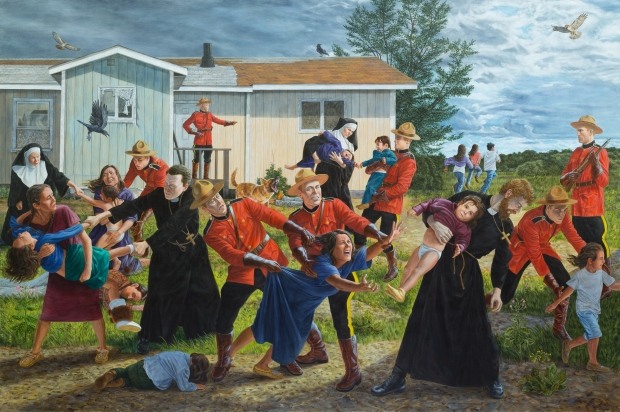 The Scream shows Indigenous children being taken away from their families by the Catholic church. (Courtesy of Kent Monkman).