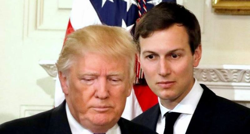 U.S. President Donald Trump and his senior advisor Jared Kushner arrive for a meeting with manufacturing CEOs at the White House in Washington, DC, U.S. February 23, 2017. REUTERS/Kevin Lamarque