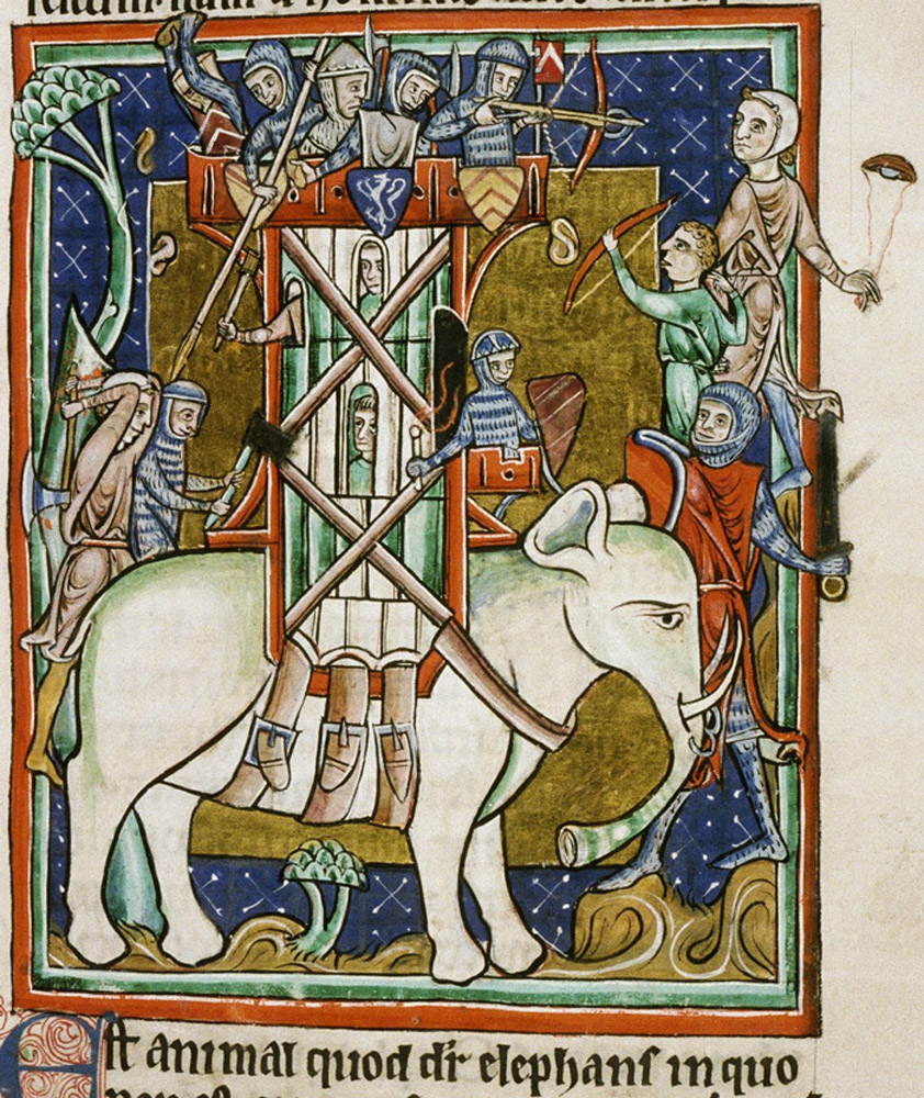 Bodleian: In India, soldiers fight from a castle mounted on the back of an elephant. The tusks of the elephant come out of its trunk rather than its mouth.