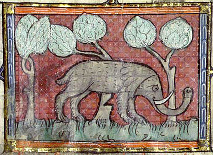 Bibliothèque Nationale de France, fr. 1951, Folio 19r. An elephant leans on a partially cut through tree.