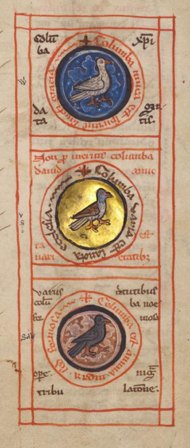 Three Doves, white, multi-coloured, and black. Franco-Flemish Bestiary, 1270.