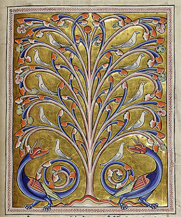 A symmetrical arrangement of doves in the branches of the tree and two dragons at its base.