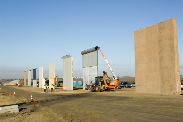 Ground views of different Border Wall Prototypes as they take shape during the Wall Prototype Construction Project near the Otay Mesa Port of Entry (photo by Mani Albrecht via US Customs and Border Protection/Flickr).