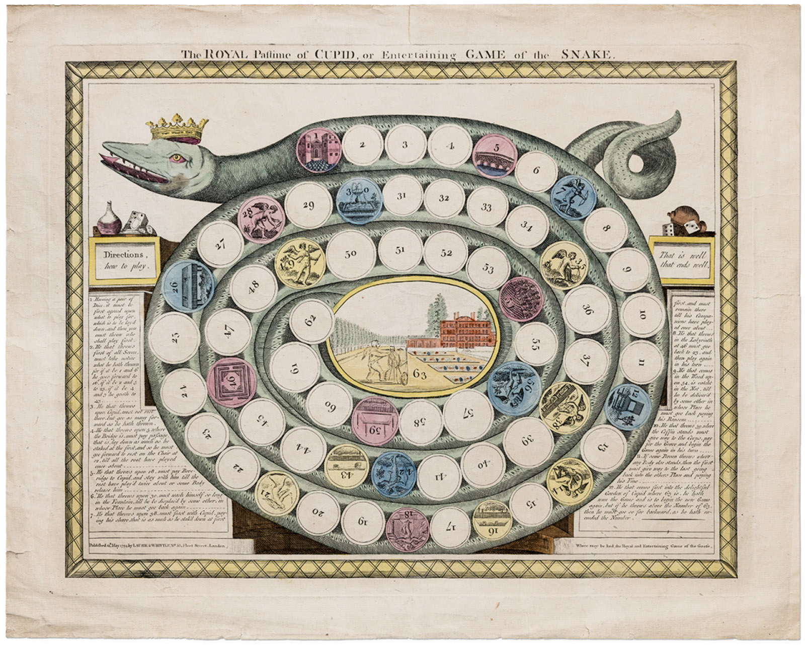 """The Royal Pastime of Cupid, or Entertaining Game of the Snake"" (1794), published by Robert Laurie and James Whittle (all photos by Antoine Bootz/©Pointed Leaf Press)."