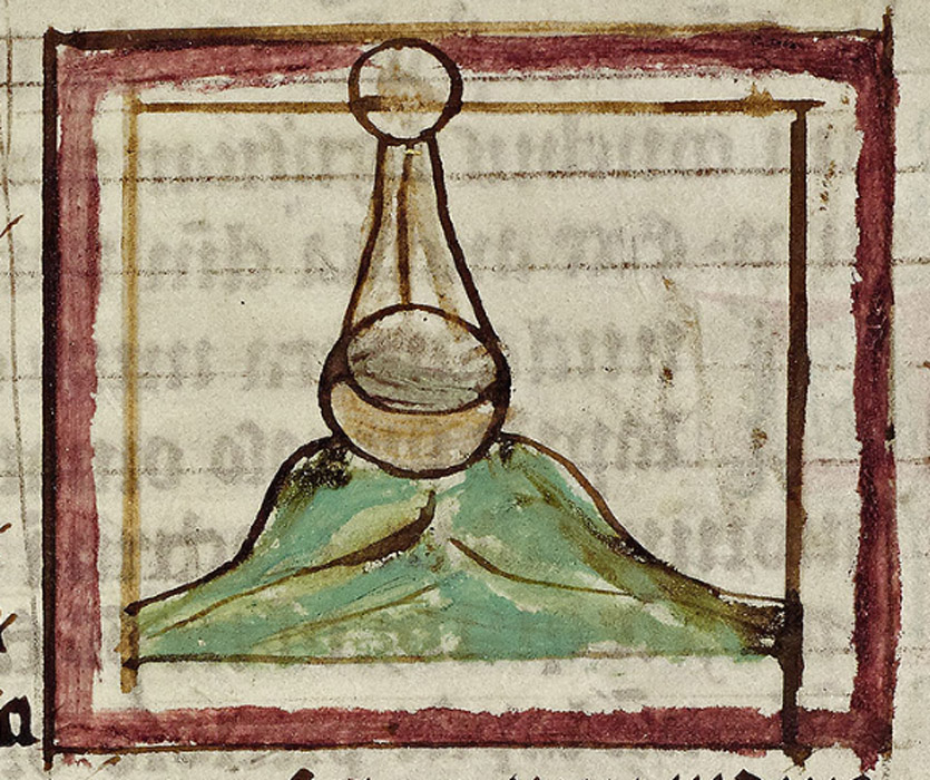 A poor sketch by the same hand as f.94r. The open stone, lying on green water, takes in the heavenly dew in order to grow a pearl.
