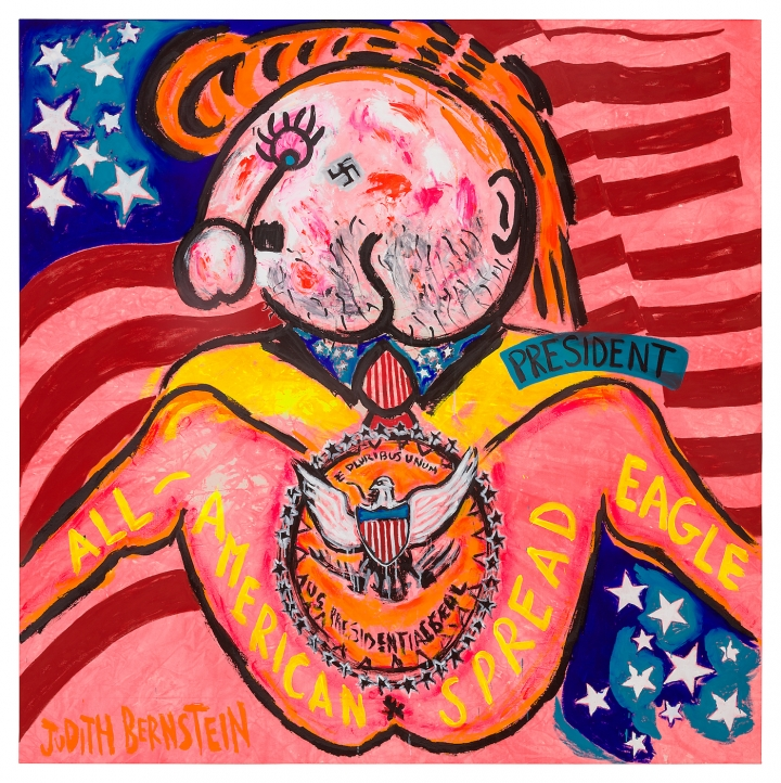 """Judith Bernstein, """"President"""" (2017), acrylic and oil on canvas, 90 x 89 1/2 inches (all images courtesy the artist and Paul Kasmin Gallery)."""