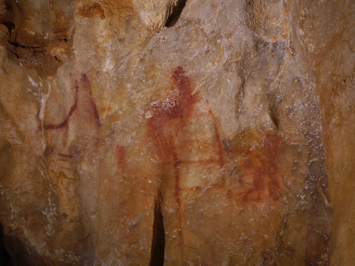 Panel 78 in La Pasiega cave, which includes red horizontal and vertical lines that date to more than 64,000 years ago, long before Homo sapiens arrived in the area (photo by C.D Standish, A.W.G. Pike and D.L. Hoffmann used with permission).