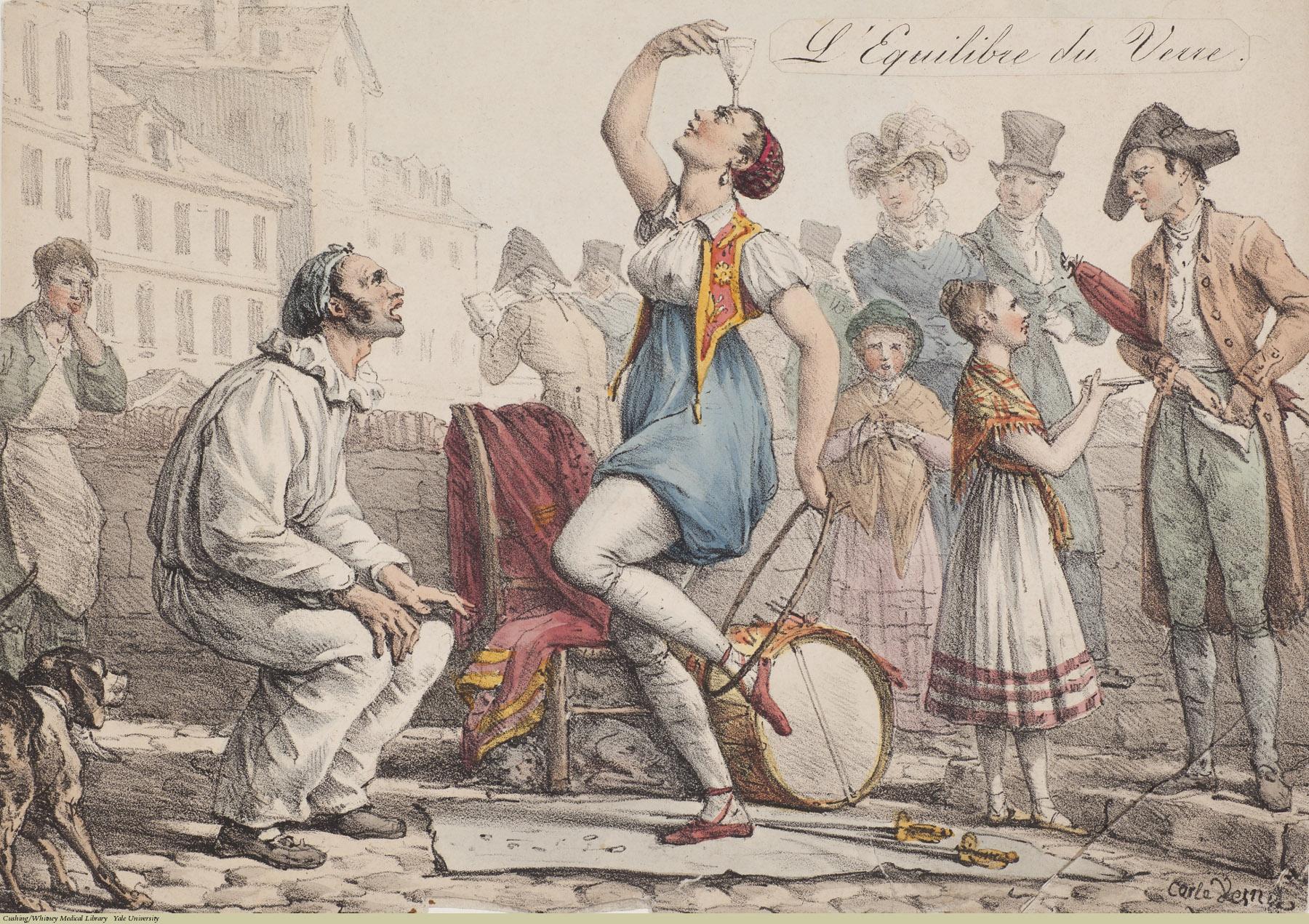 L'Equilibre du Verre. Carl Vernet, Lithograph coloured, 1823. Subject: Balance, Acrobatics.