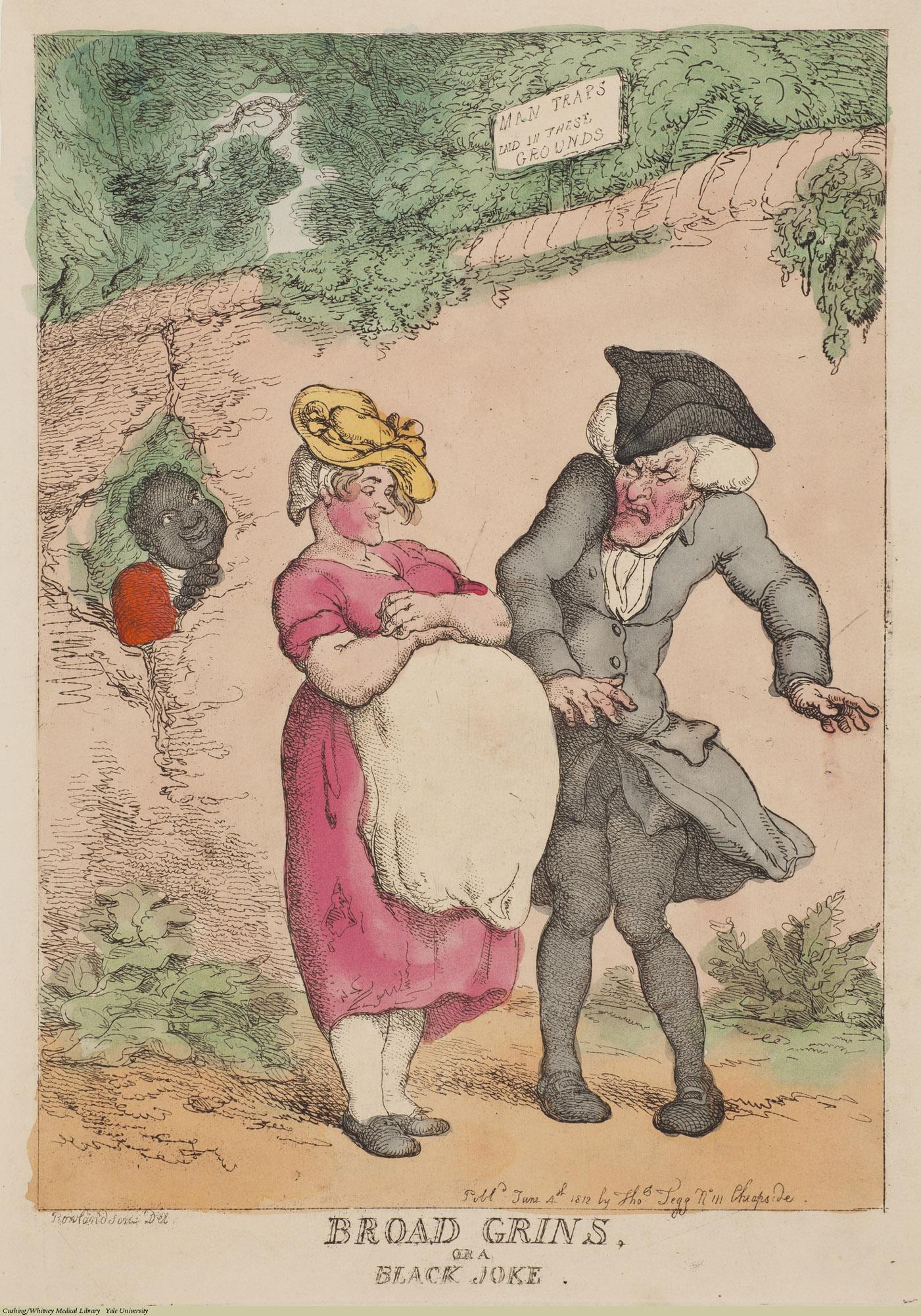 Broad Grins, or a Black Joke. Thomas Rowlandson, Etching coloured, 1812. Subject: Pregnancy, Misogyny.