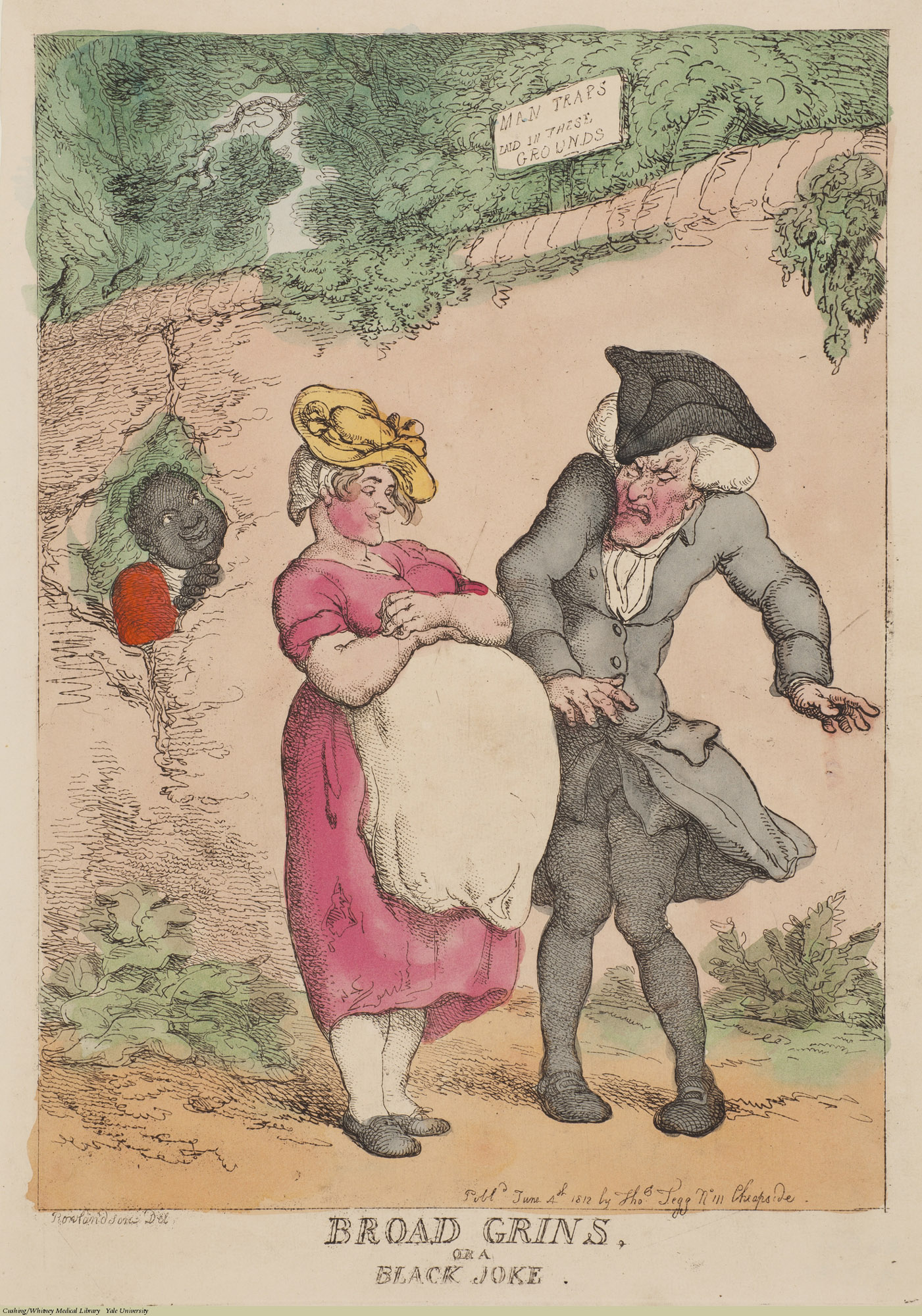 Broad Grins, or a Black Joke. Thomas Rowlandson, Etching coloured, 1812. Subject: Pregnancy, Misogyny.
