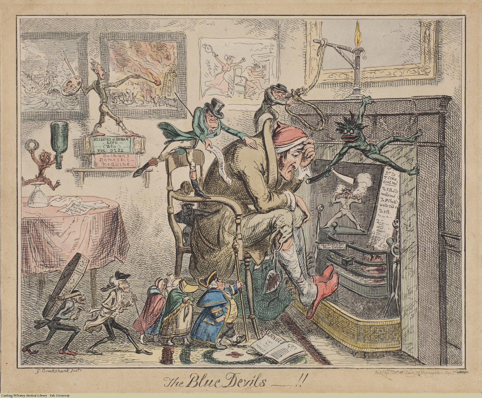 Blue Devils, George Cruikshank, Etching. Subject: Depression, Suicide, Devils & Demons.