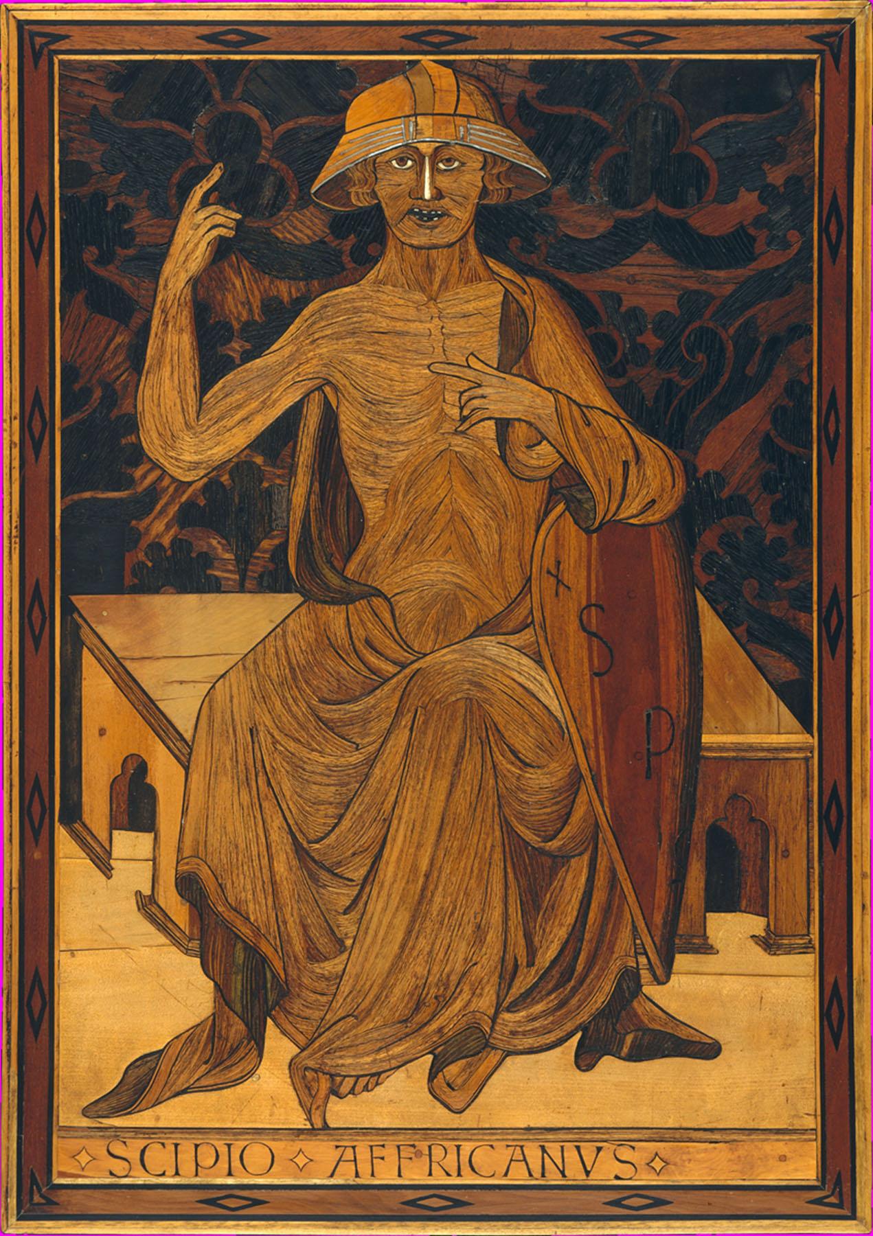 cipio Africanus (ca. 1425–30), intarsia by Mattia di Nanni di Stefano using poplar, bog oak and other wood inlay, rosewood, tin, bone, traces of green colouring — Source.