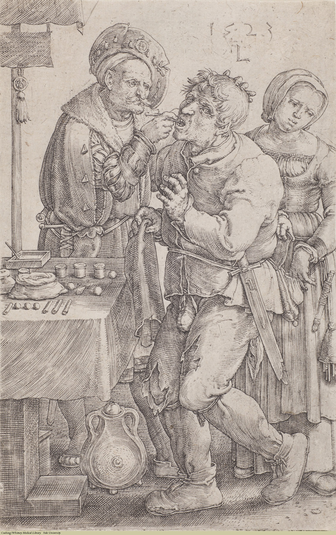 The Charlatan (The Dentist). Lucas van Leyden, Laid, 1523. Subject: Tooth Extraction, Charlatan, Thievery.