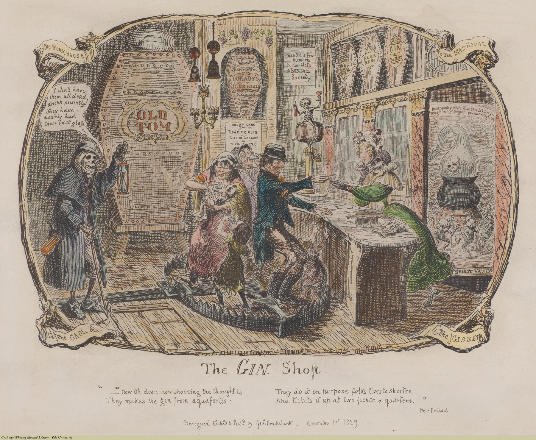 The Gin Shop, George Cruikshank, Etching coloured, 1829. Subject: Alcohol, Gin, Drunkenness, Mother's Ruin, Children, Child Care.