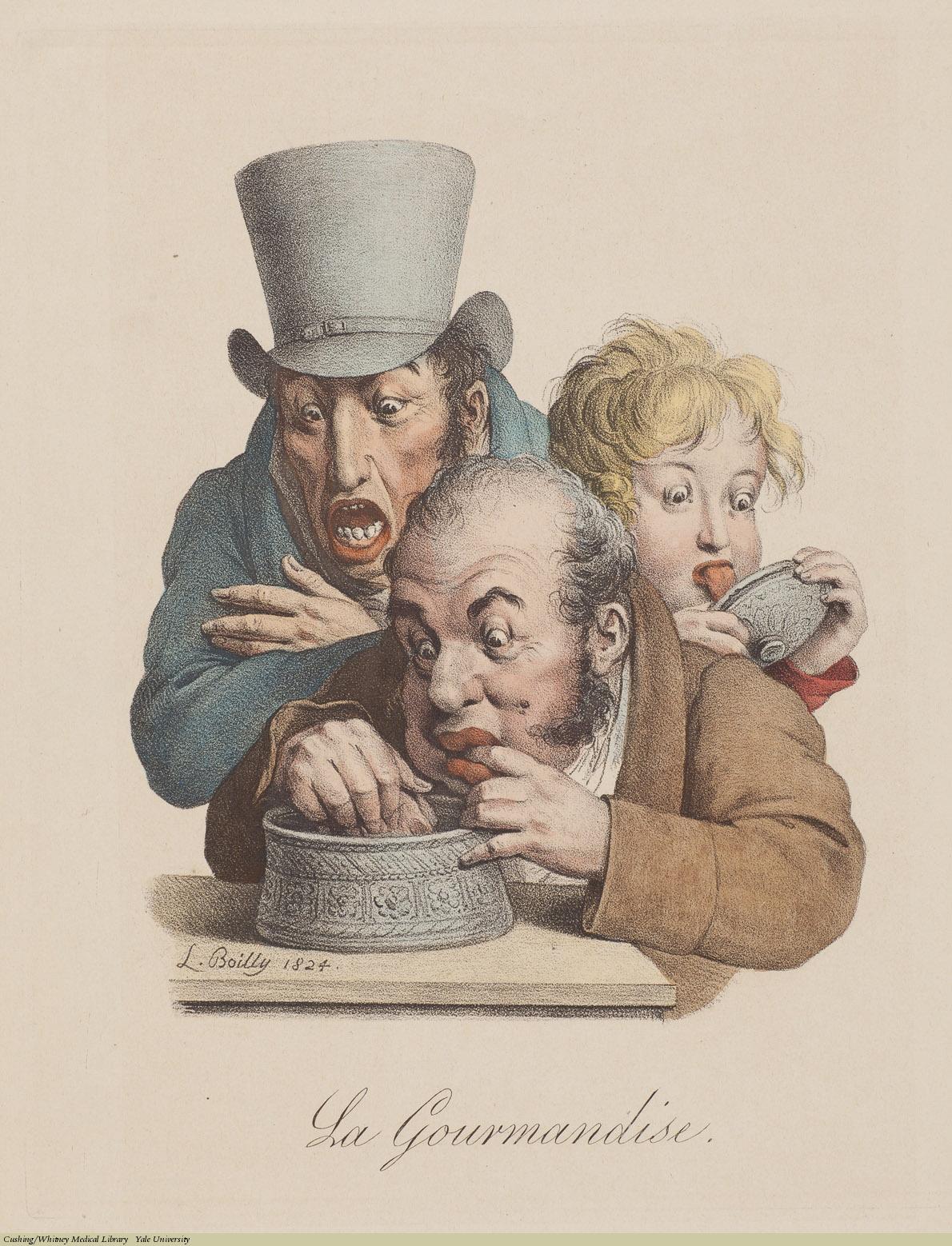 La Gourmandise, Louis-Léopold Boilly, Lithograph,1824.