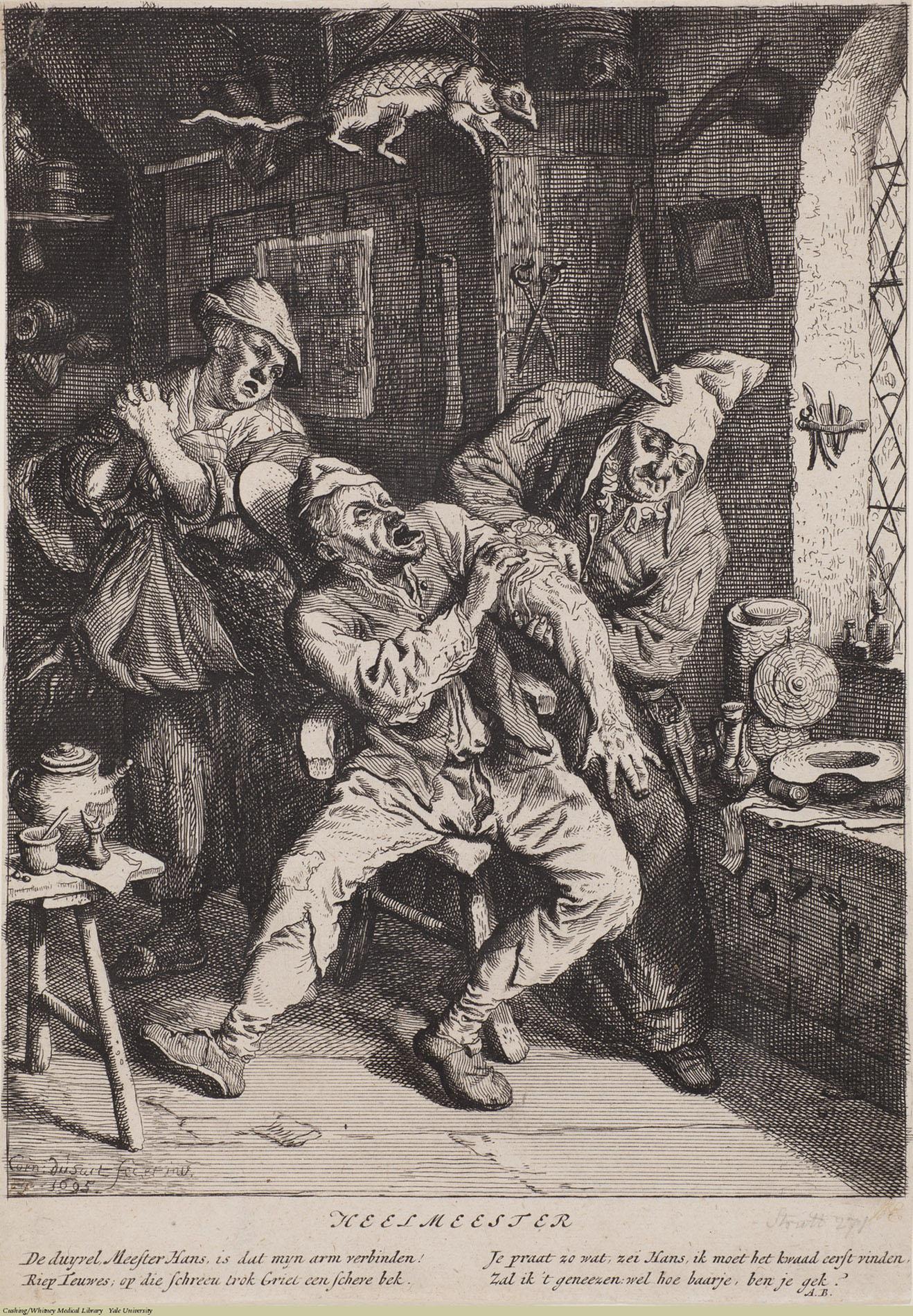 Heelmeester. Cornelius Dusart, Laid, 1695. Subject: Barber Surgeons, Rural Medicine.