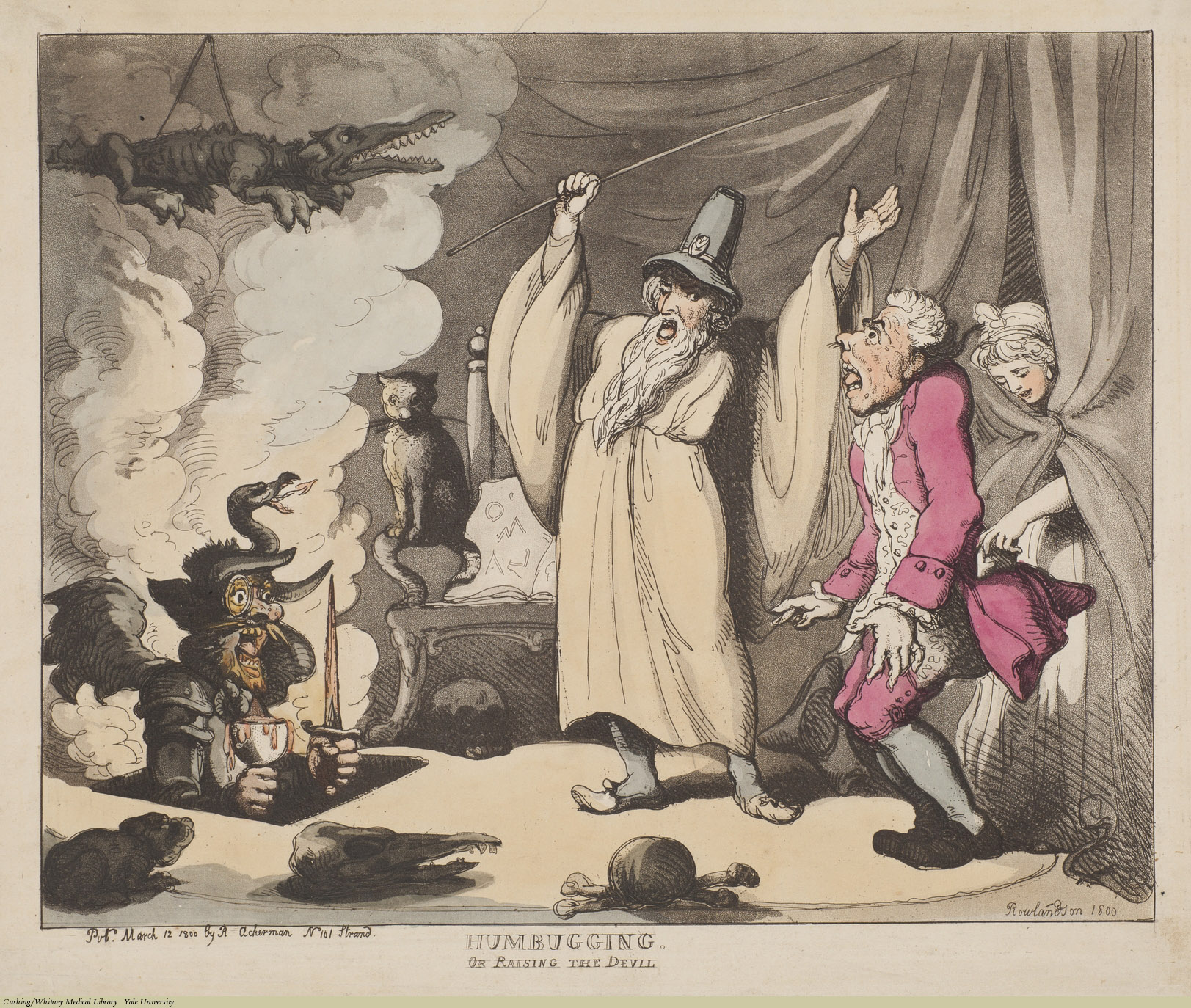 Humbugging. Or Raising The Devil. Thomas Rowlandson, Aquatint coloured, 1800. Subject: Wizards, Confidence Trickster, Pickpocket.