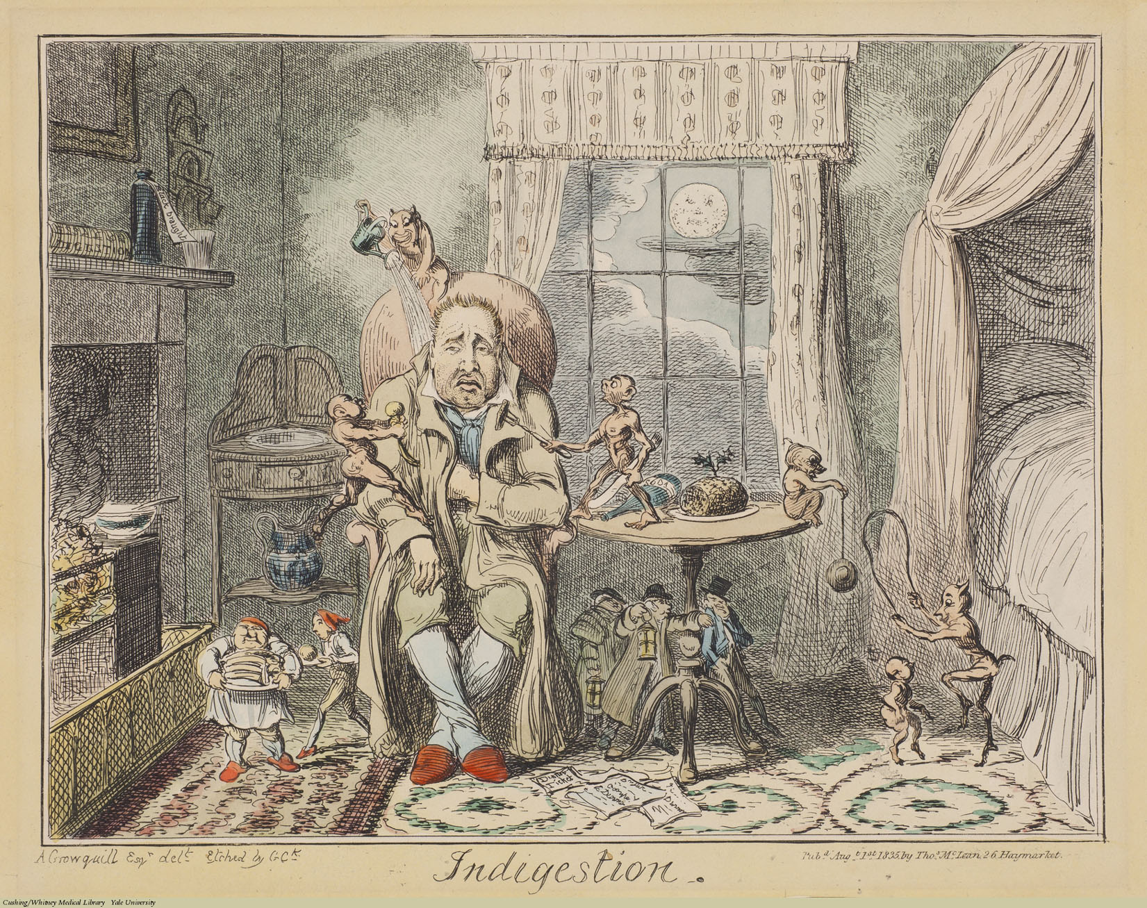 Indigestion, George Cruikshank, Etching coloured. Subject: Indigestion, Pain, Devils & Demons.