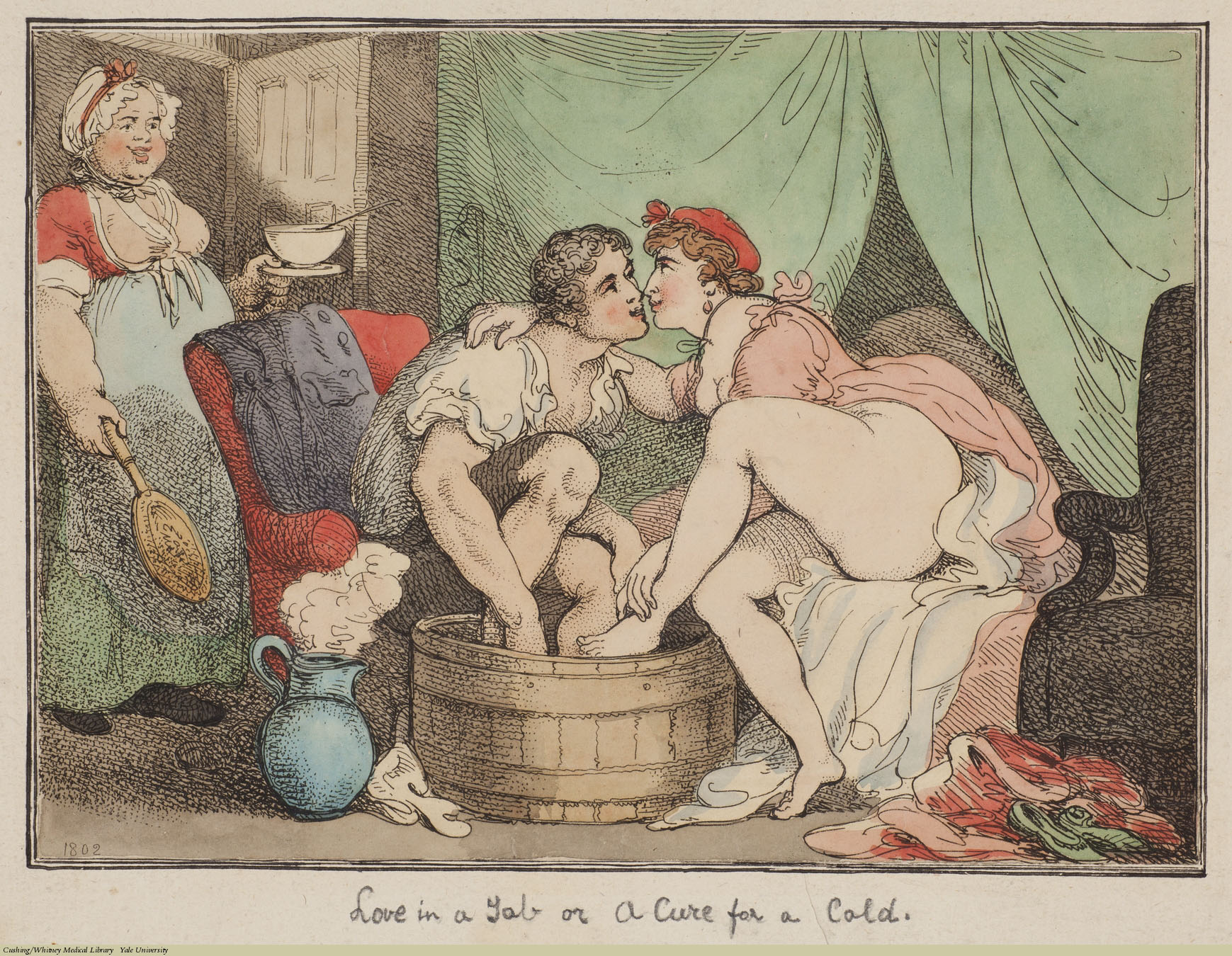 Love In A Tub or A Cure for a Cold, Thomas Rowlandson, Etching, 1802. Subject: Foot Baths, Sexual Behaviour, Coryza.
