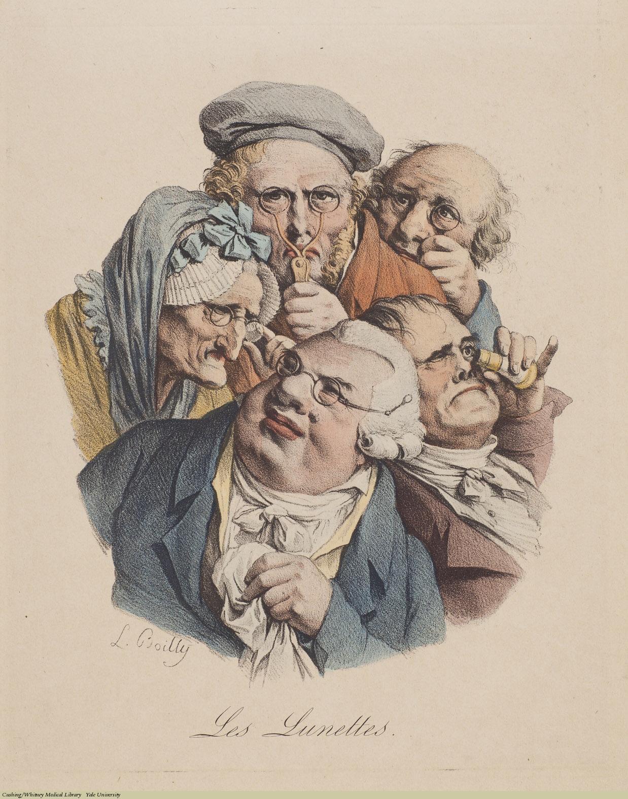 Louis-Léopold Boilly, Les Lunettes (Eyeglasses), Lithograph, undated.