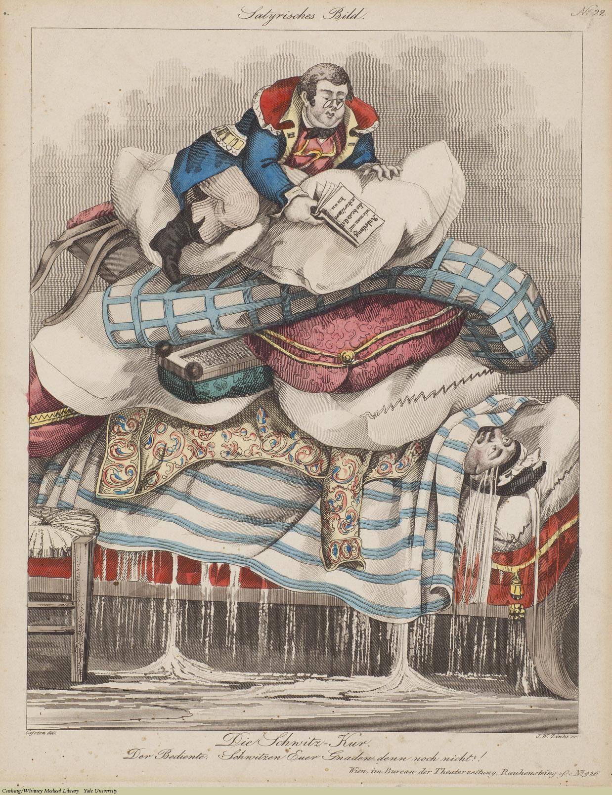 Die Schwitz = Kur.  Johann Wenzel Zinke, Engraving coloured, Satyrisches Bild. #22. Subject: Sweating Cure, hydrotherapy.