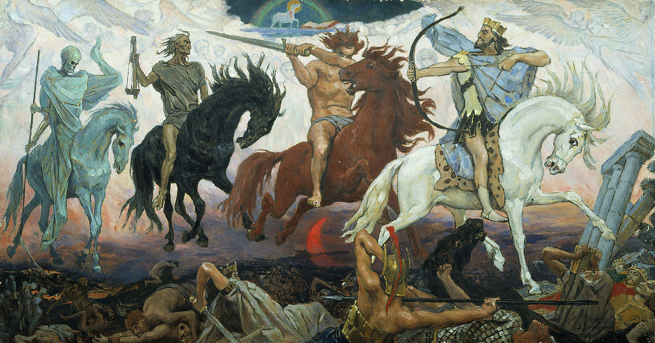 Four Horsemen of Apocalypse, by Viktor Vasnetsov. Painted in 1887. Source.