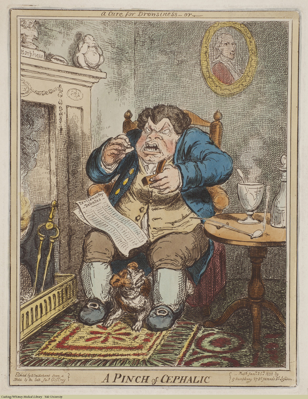 A Cure for Drowsiness--or--A Pinch of Cephalic. George Cruikshank, Etching coloured,Jan. 25th 1822. Subject: Tobacco, Snuff, Smoking.