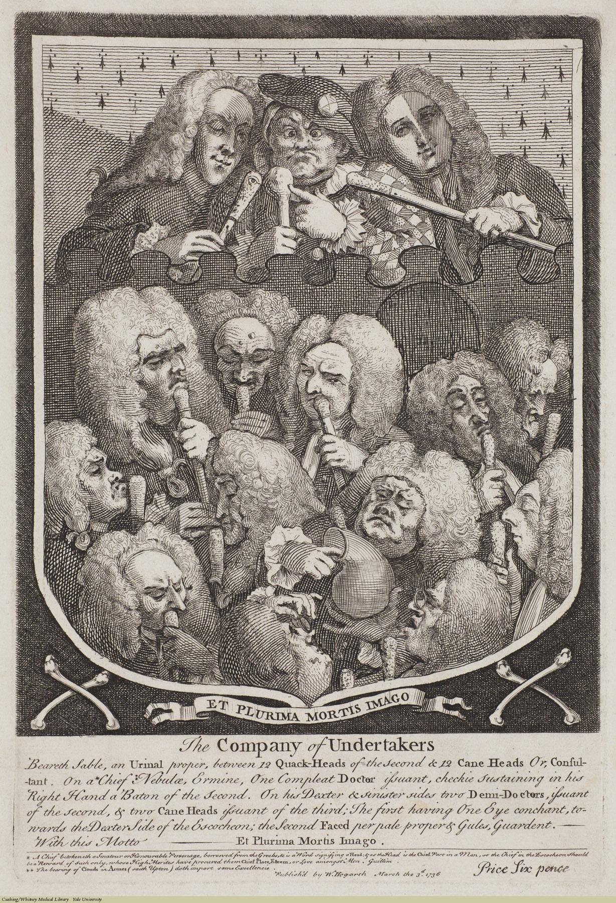 The Company of Undertakers. William Hogarth, Laid, 1736. Subject: Mapp, Sarah (d.1736), Taylor, John (1703-72), Ward, Joshua (1685-1761), Dod, Pierce (1683-1754), Bamber, Dr., Quacks & quackery.