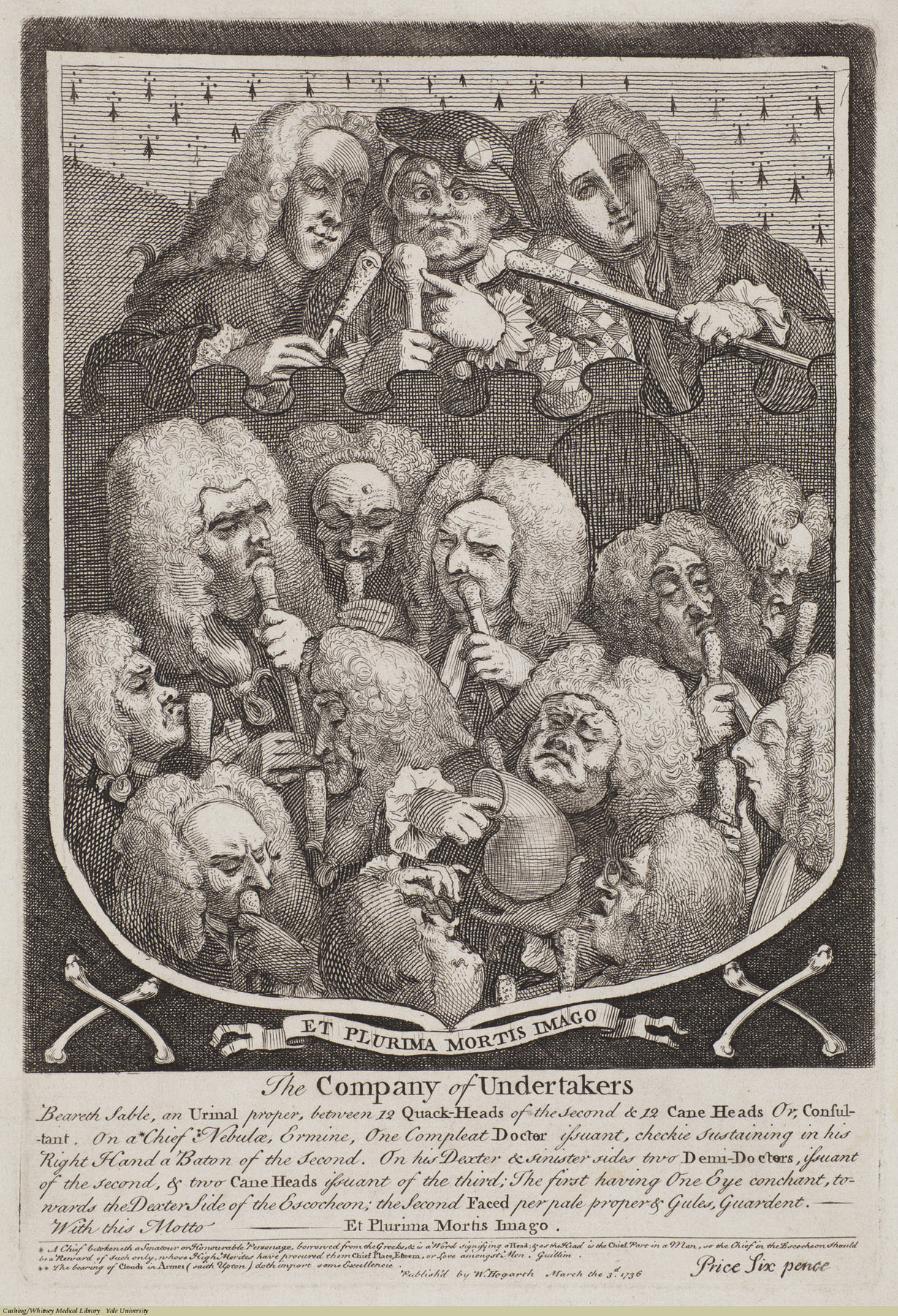 The Company of Undertakers. William Hogarth, Laid, 1736. Subject: Mapp, Sarah (d.1736), Taylor, John (1703-72), Ward, Joshua (1685-1761), Dod, Pierce (1683-1754), Bamber, Dr., Quacks & quackery.
