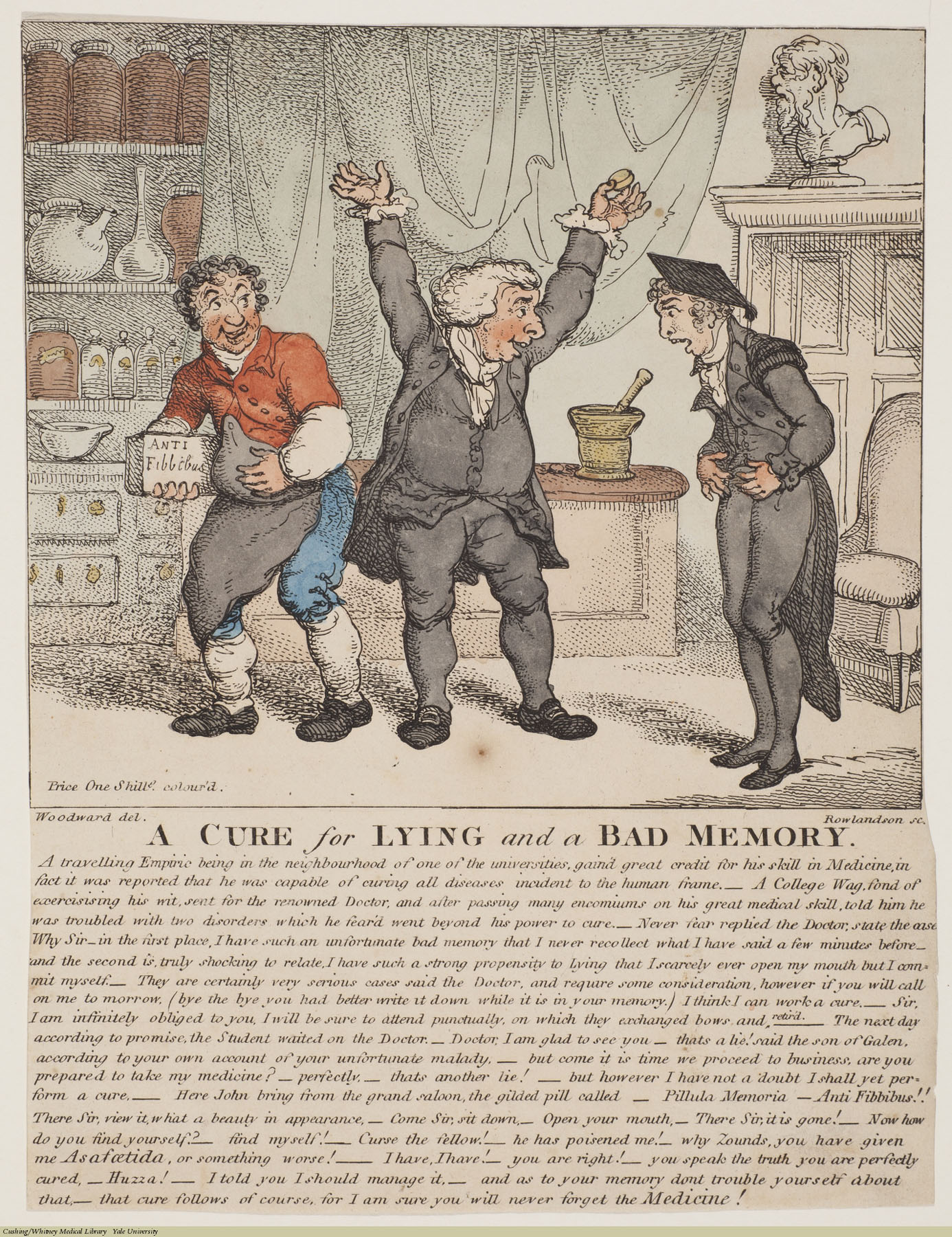 A Cure for Lying and a Bad Memory. Thomas Rowlandson, Etching coloured, 1807. Subject: Pharmacy, Medicine.