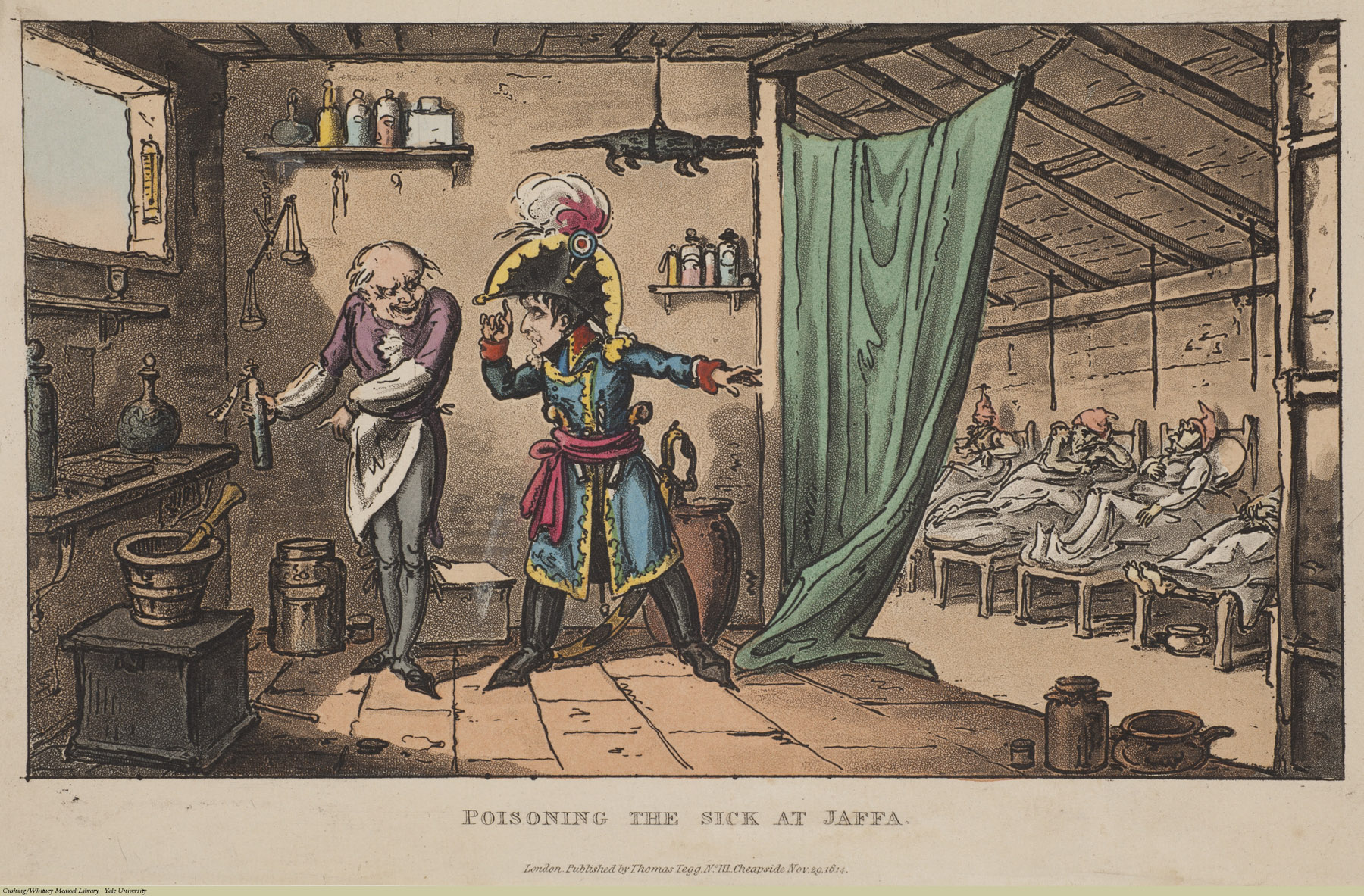 Poisoning the Sick at Jaffa. George Cruikshank, Aquatint coloured, 1814. Subject: Napoleon, Jaffa, Poison, Hospitals, Military Hospitals.