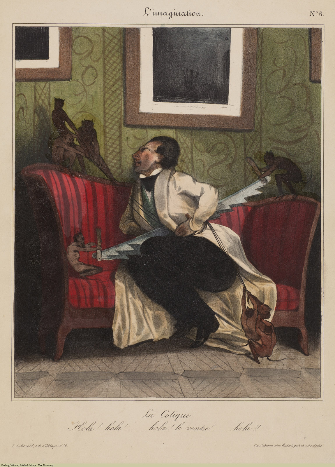 La Colique. Charles Ramelet / Honore Daumier, Lithograph coloured. Subject: Cholic, Depiction of Pain.