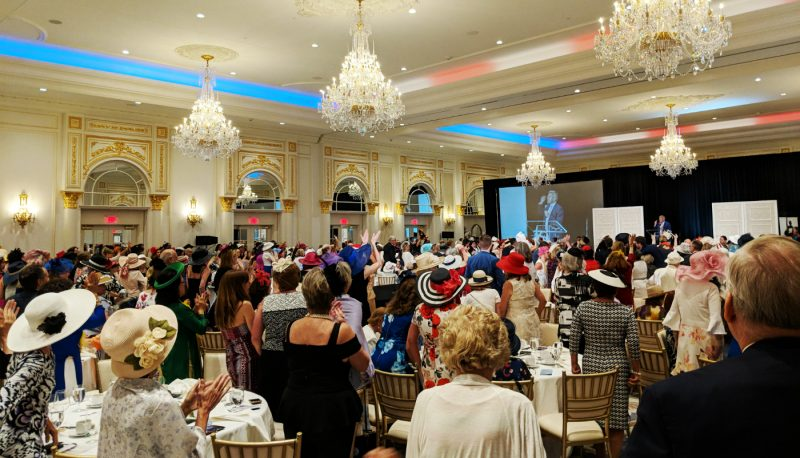 Women adorning fancy hats celebrate President Trump's birthday over tea at an event hosted by Virginia Women For Trump at the Trump International Hotel in Washington on June 24, 2018. (Photo: Jared Holt).