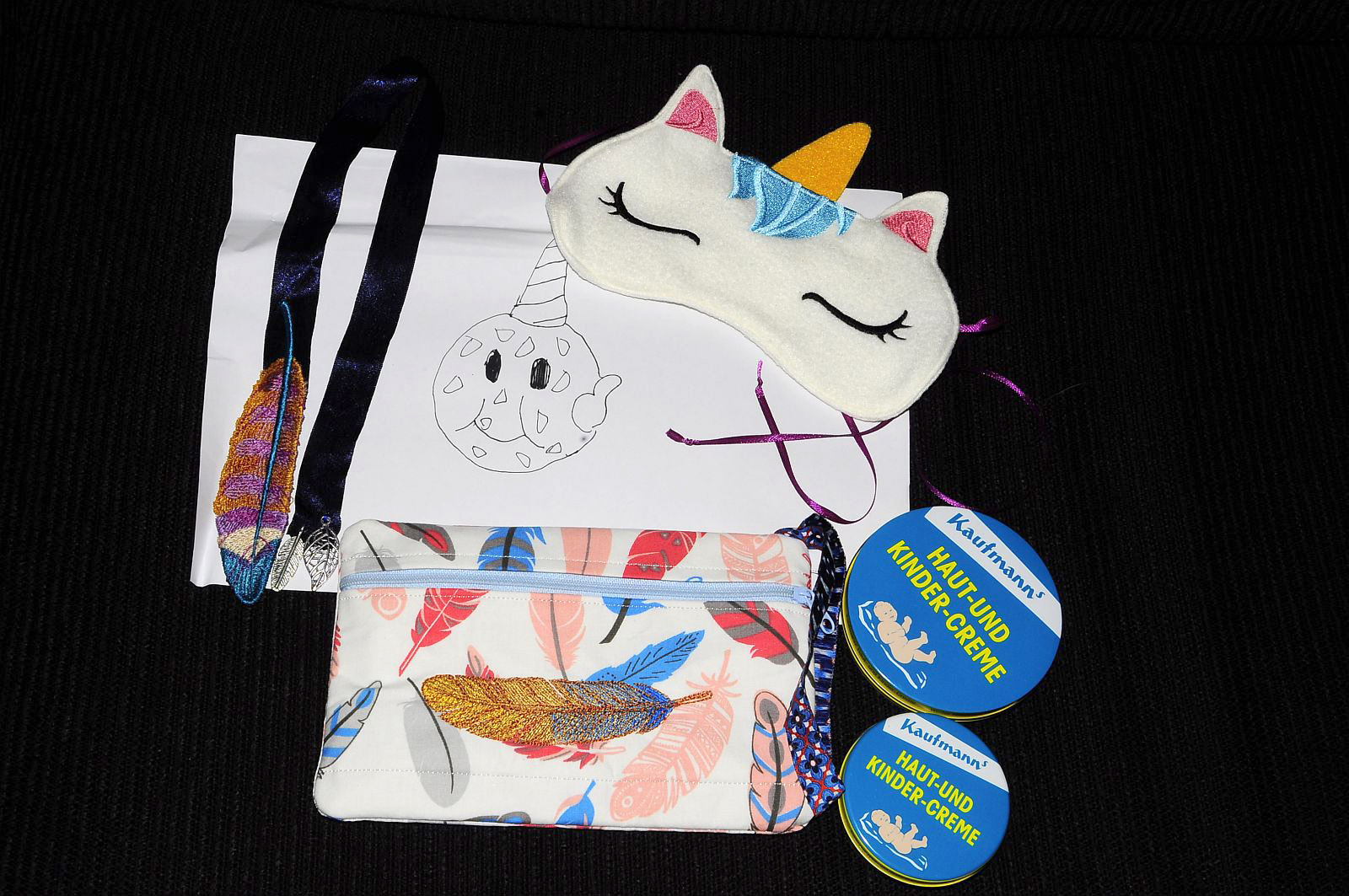 A gorgeous bookmark, a sleep mask, small bag, cream, and my very own Cookie Corn. :D