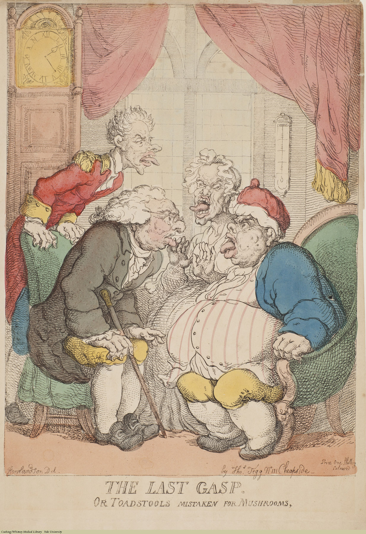 The Last Gasp. Or Toadstools Mistaken for Mushrooms. Thomas Rowlandson, Etching coloured. Subject: Mushrooms, Obesity, Gastronomy.