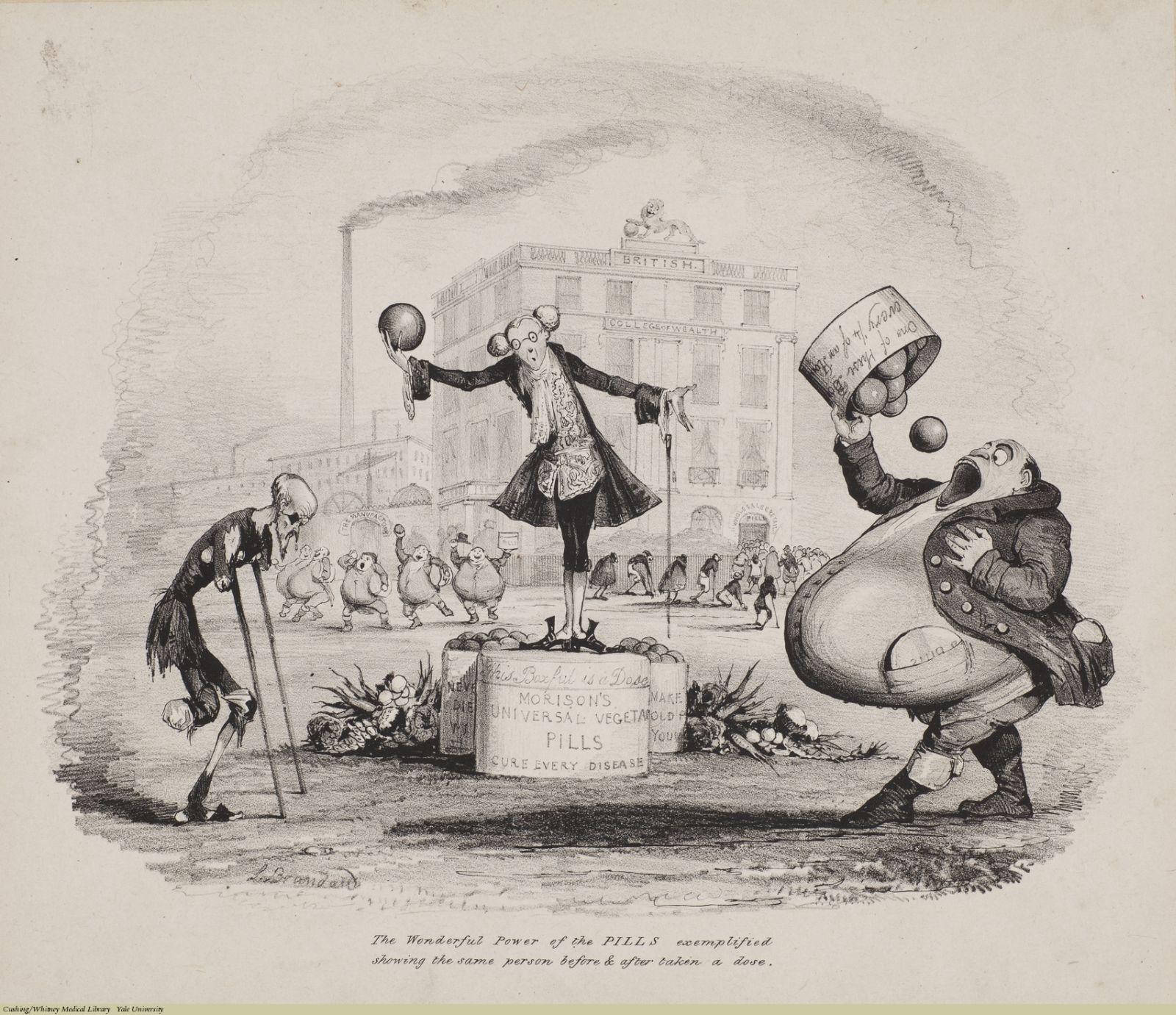 The Wonderful Power of the Pills... John Brandard [ca.1835]. Subject: Quacks & Quackery, Drugs, Proprietary Medicines, James Morison, Morison's Pills, College of Medicine.