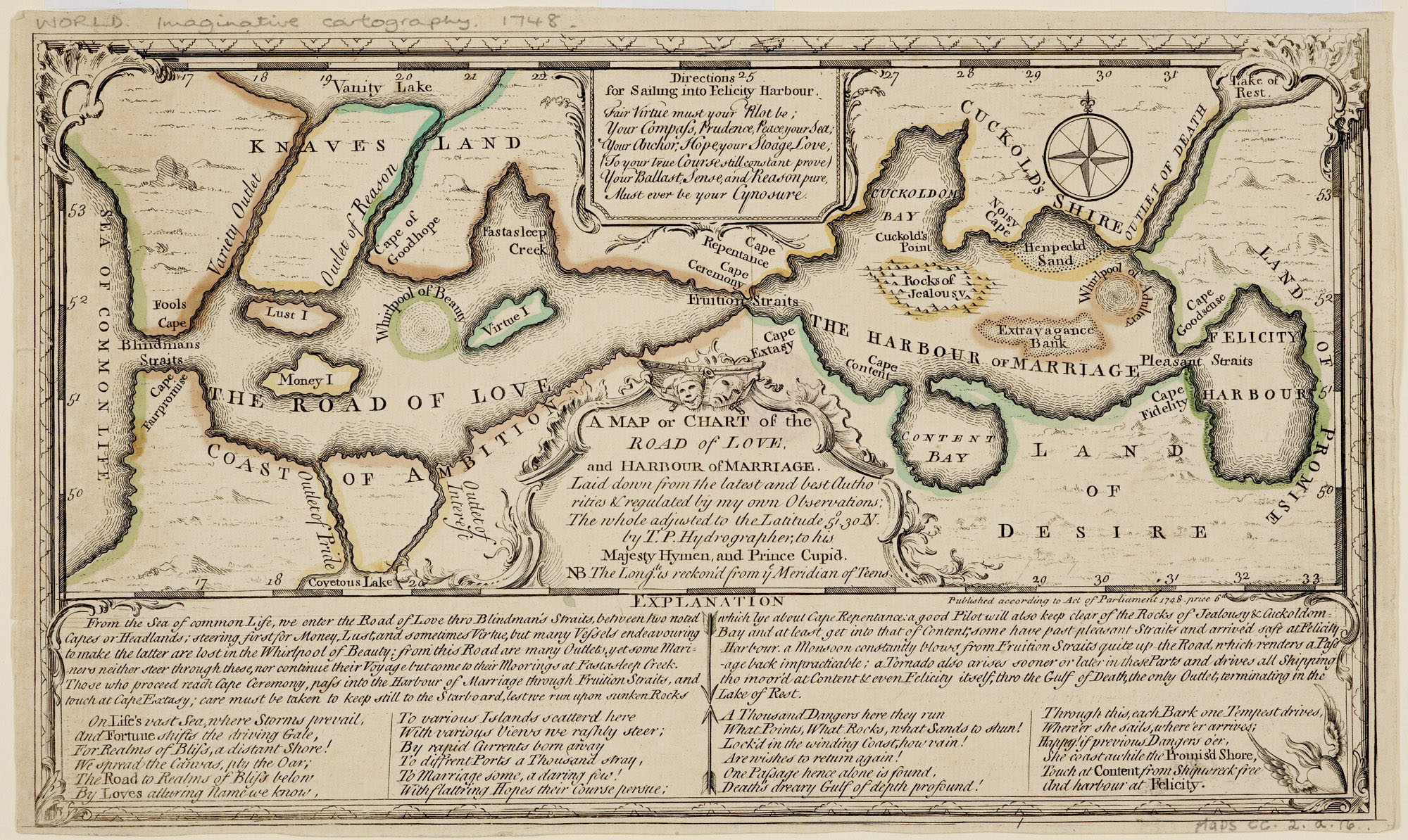 Thomas Sayer's A Map or Chart of the Road of Love, and Harbour of Marriage, 1748 — Source.