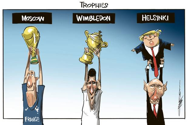 Trophies cartoon. France wins the World Cup in Moscow, Djokovic wins Wimbledon, and Putin wins over Trump in Helsinki. Image / Rod Emmerson.