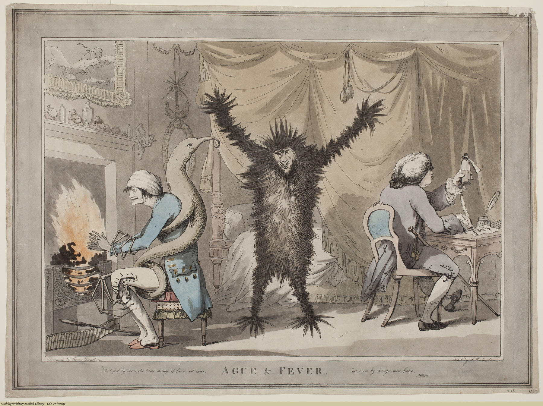 Ague & Fever. Thomas Rowlandson, Aquatint, colored, with ink & watercolor border, 1792. Subject: Ague, Fever, Demons & devils, Prescription of drugs.