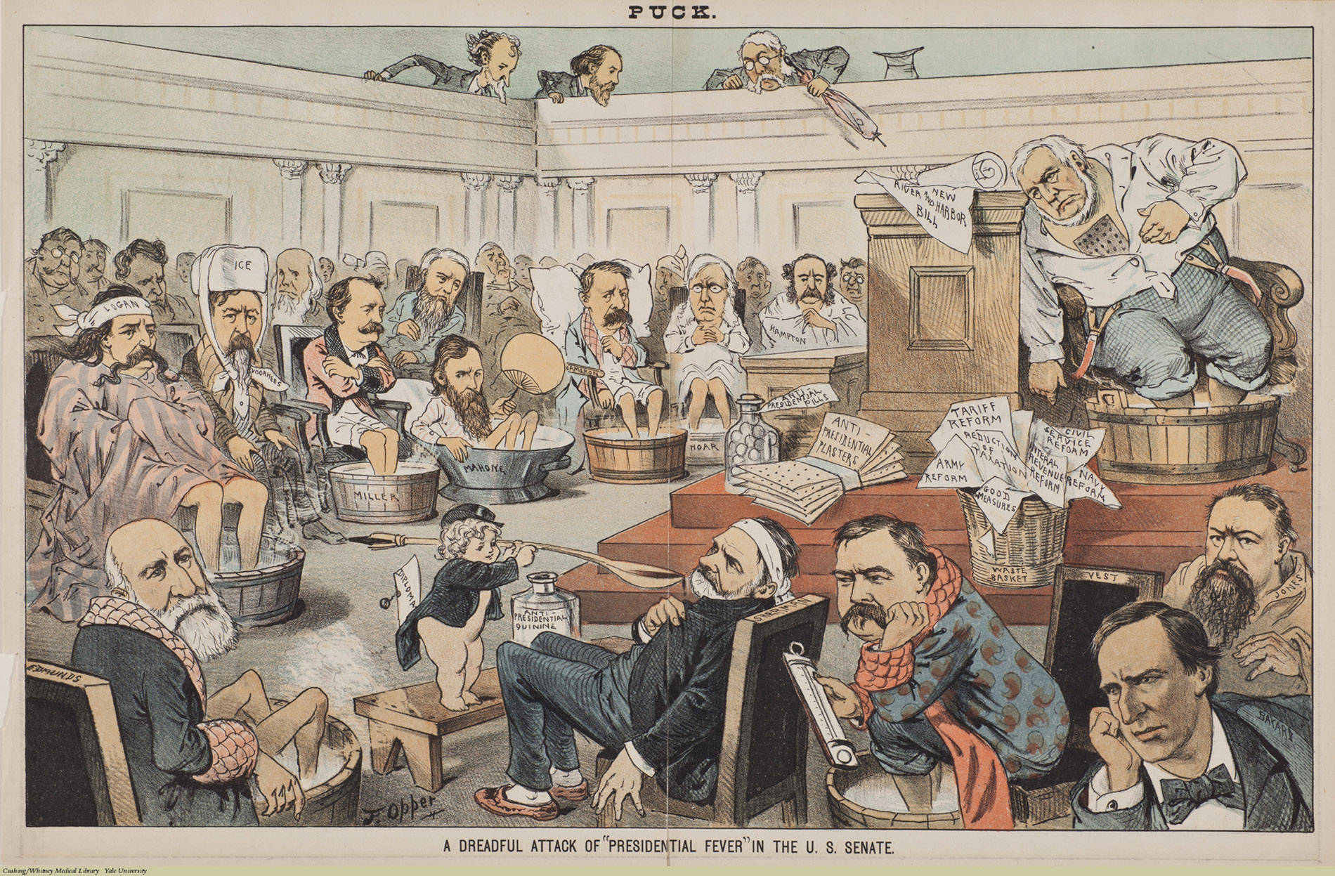 "A Dreadful Attack Of ""Presidential Fever"" In The U.S. Senate.  Frederick Burr Opper, Chromolithograph, 1883. Subject: U.S. Politics, Infectious Disease, Quinine, Foot Baths. For a full list of the Senators, see here."