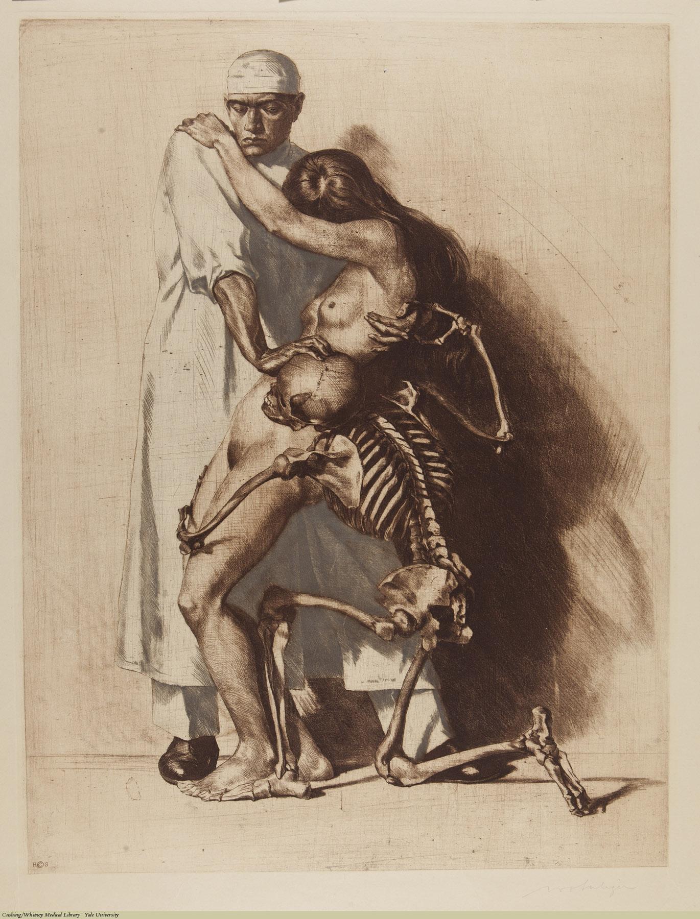 Der Arzt. Ivo Saliger, 1921. Subject: Skeleton As Death, Surgeons, Surgery.