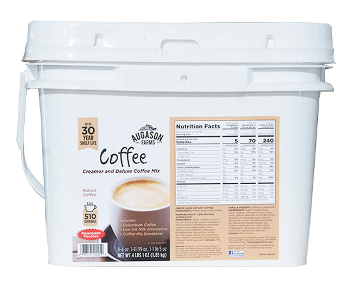 With this offer you will receive eight (8) Freeze Dried Columbian Coffee Pouches-60 servings per pouch, one (1) Vanilla Pudding Pouch-10 servings per pouch, one (1) Morning Moo's Low Fat Milk Pouch-20 servings per pouch.