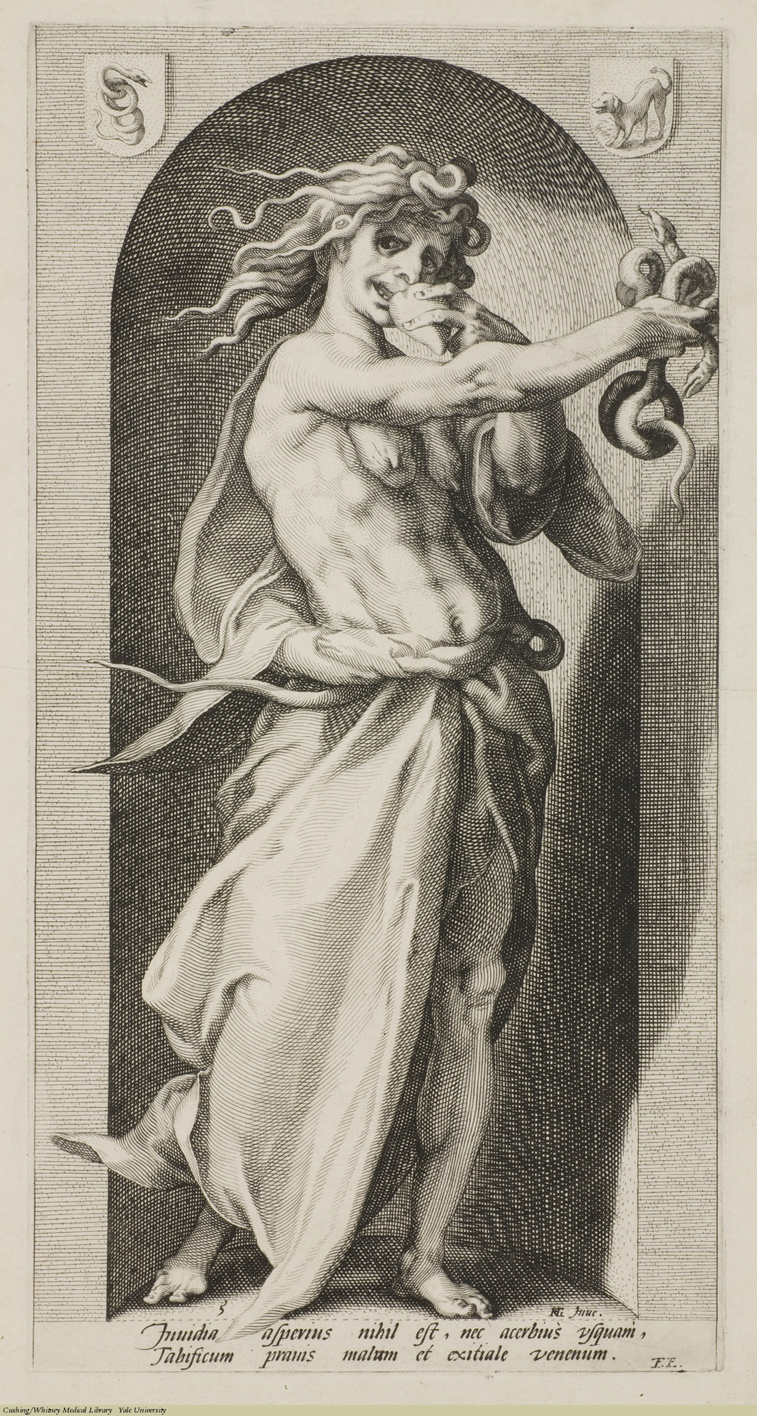Envy. Hendrick Goltzius, Engraving, 1593. Subject: The Seven Vices, Envy, Psychology.