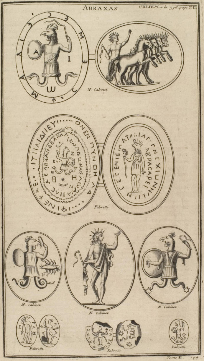 A print from Bernard de Montfaucon's L'antiquité expliquée et représentée en figures (Band 2,2 page 358 ff plaque 144) with different images of Abraxas.